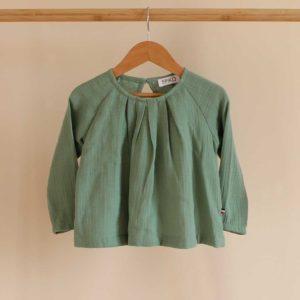 blouse fille double gaze de coton vert menthe