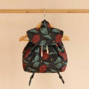 sac à dos bébé imprimé feuillage, coton bio.