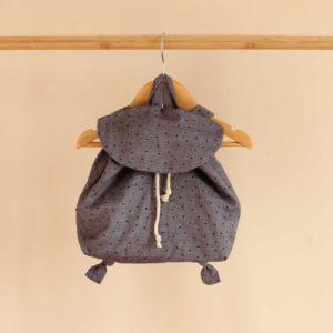 sac à dos bébé en jeans léger pois, coton bio.