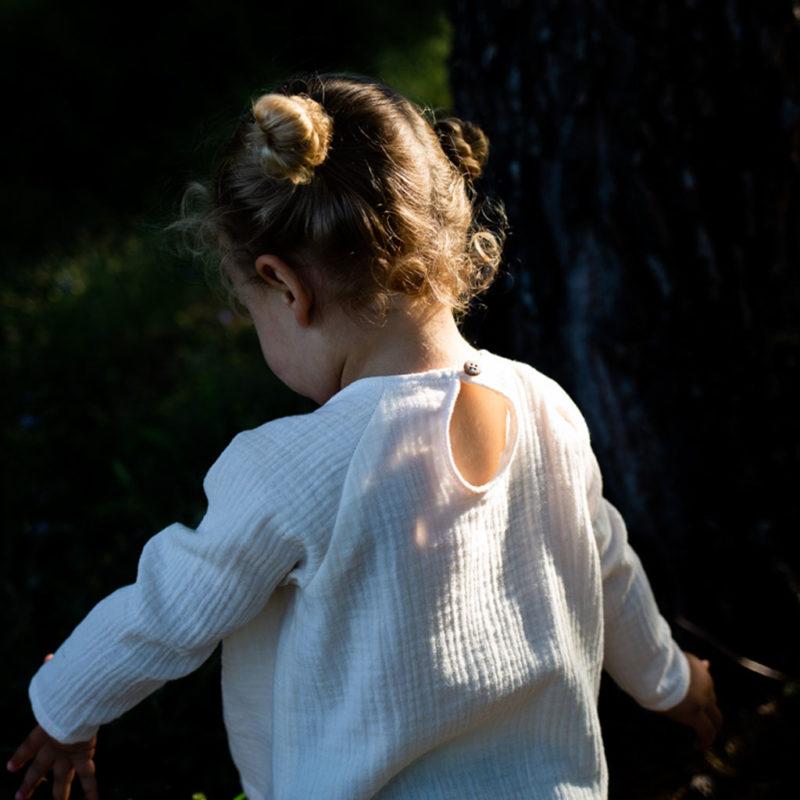 blouse fille double gaze de coton ecru