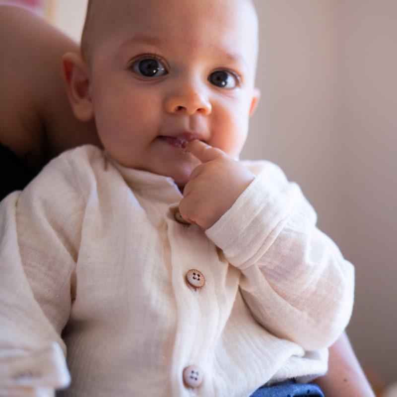 chemise bébé en double gaze de coton écru