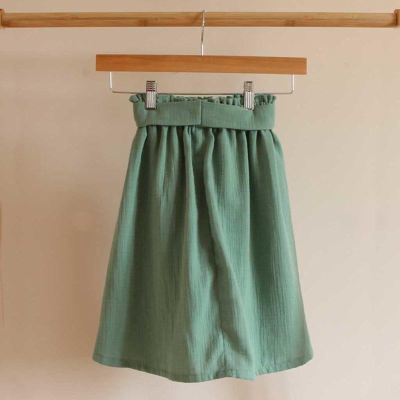 jupe fille gaze de coton vert menthe coton bio