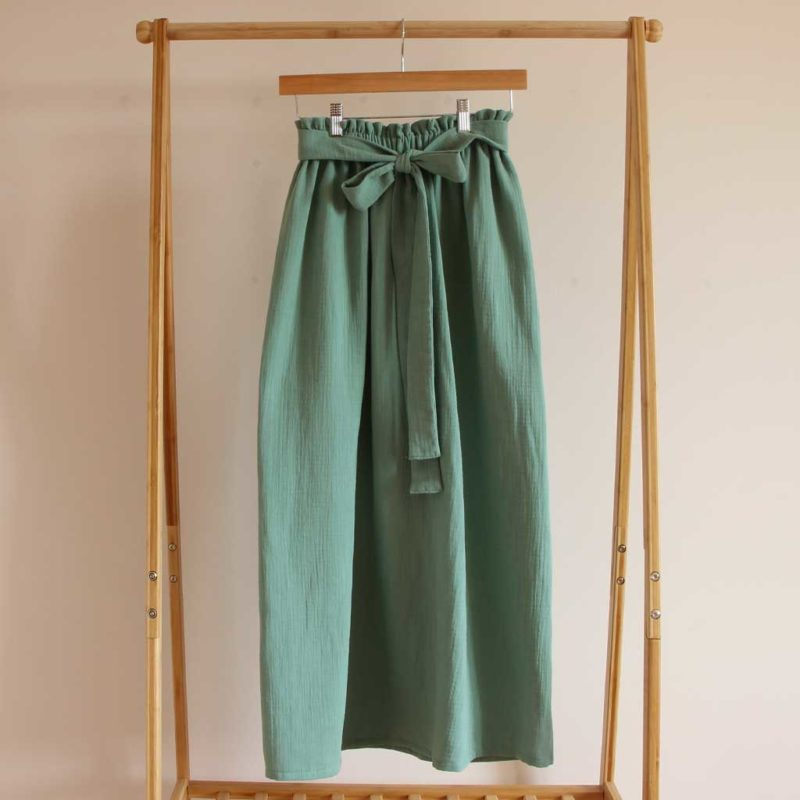 jupe femme gaze de coton vert menthe coton bio